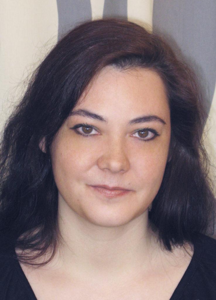 Close-up portrait of Grégoria Kalpouzos.